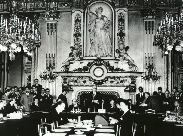 View of the Declaration: Robert Schuman, in the centre